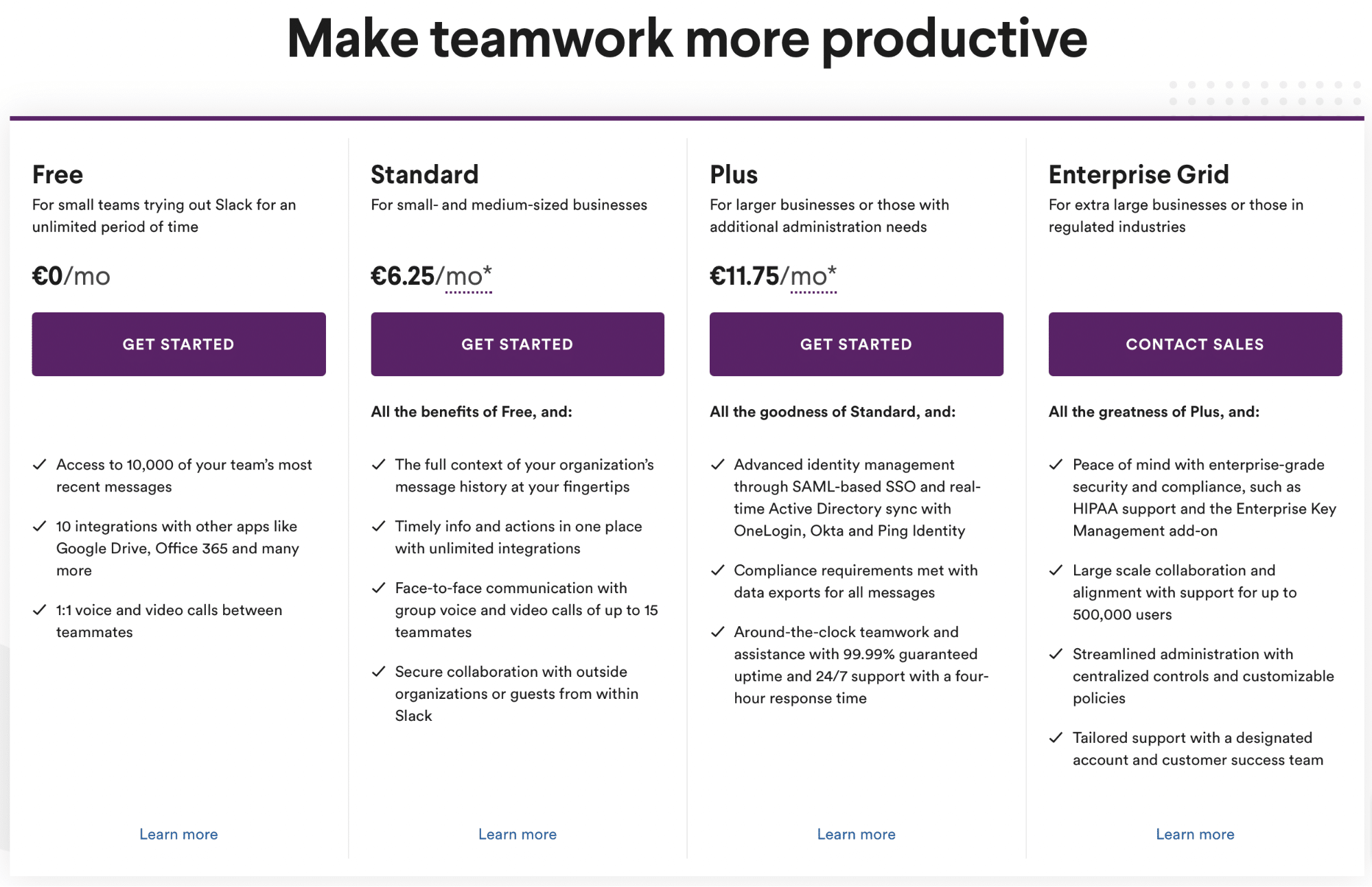Screenshot of Slack prices and plans
