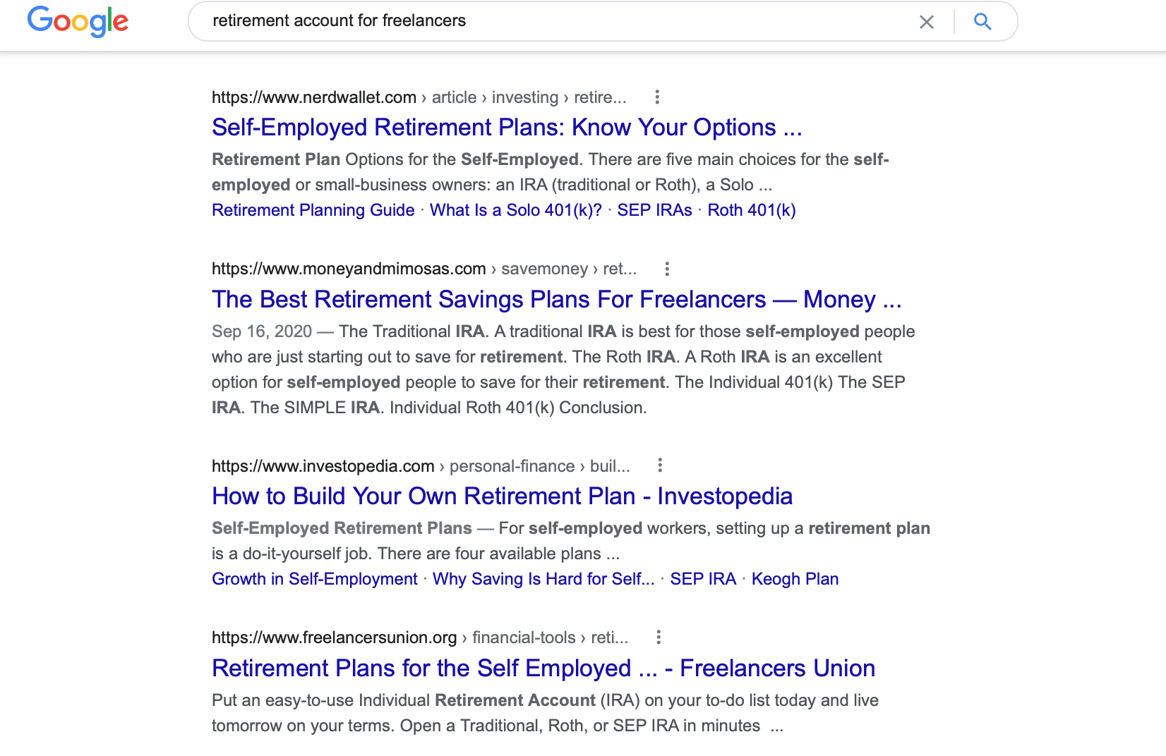 Google search showing retirement accounts for freelancers search results
