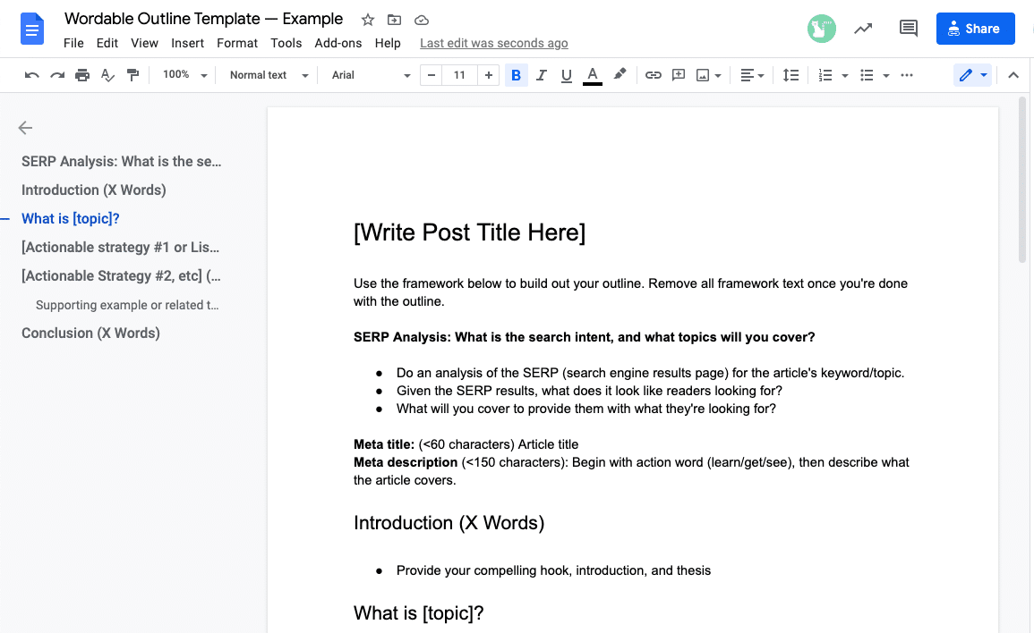 sample outline template