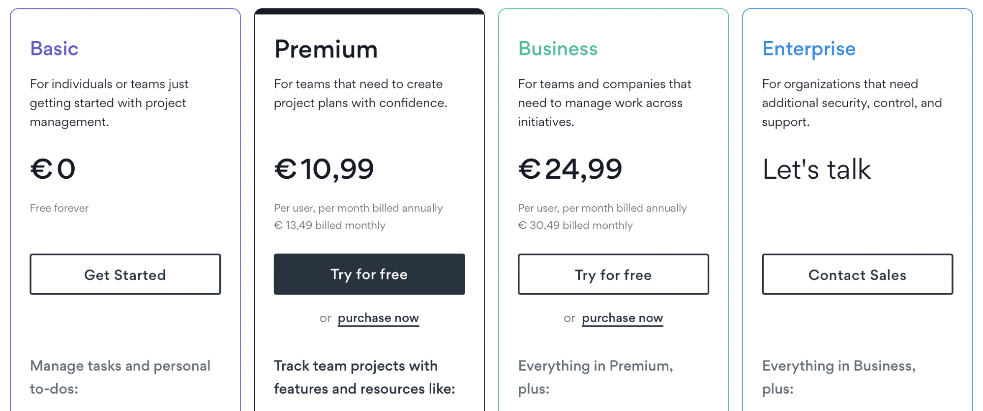 Asana plans and prices