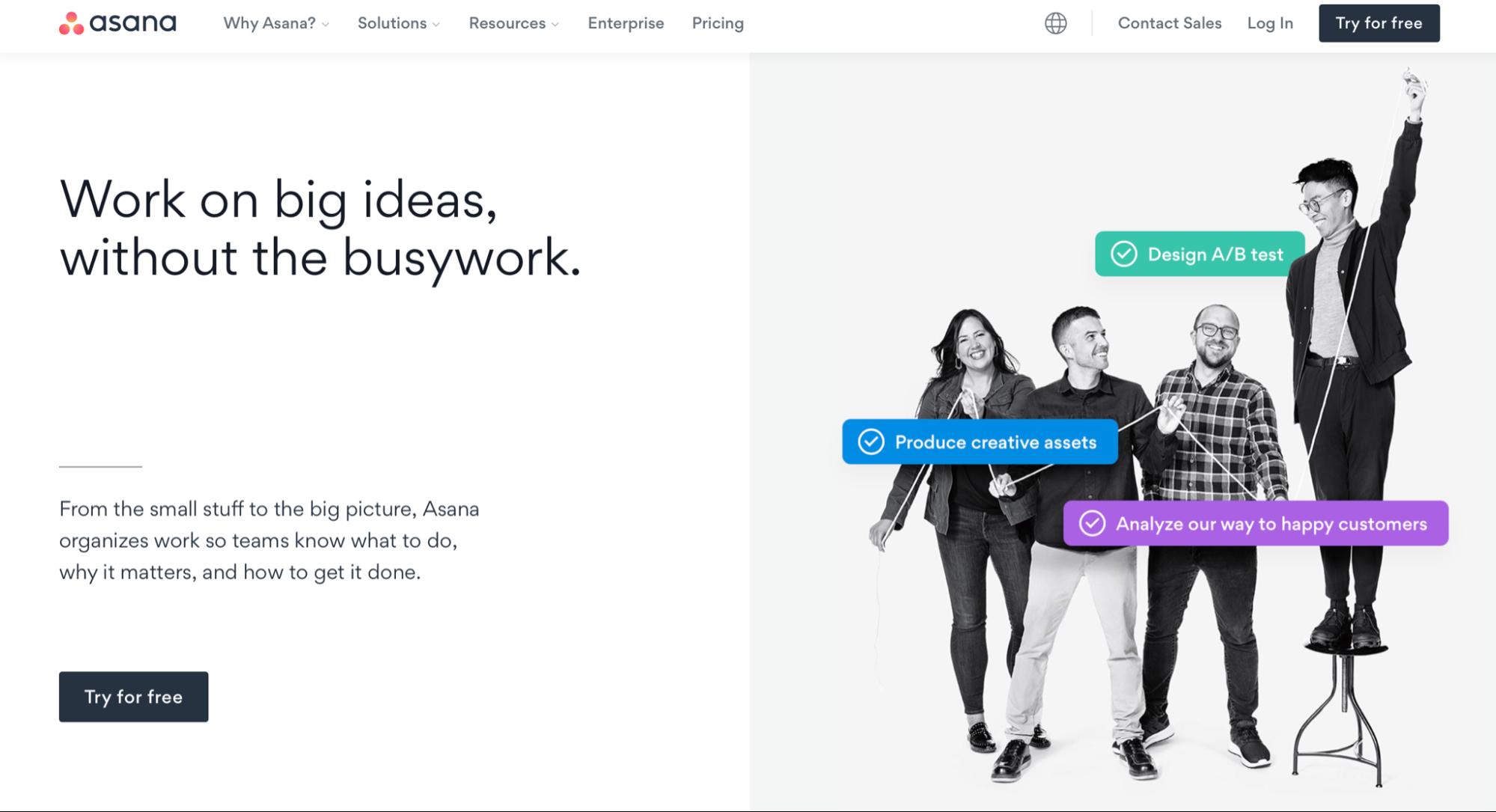 Screenshot of Asana homepage