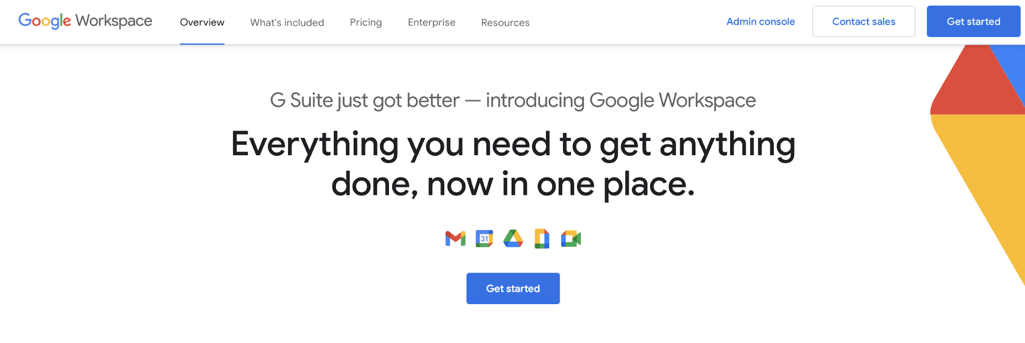 Screenshot of Google Workspace homepage
