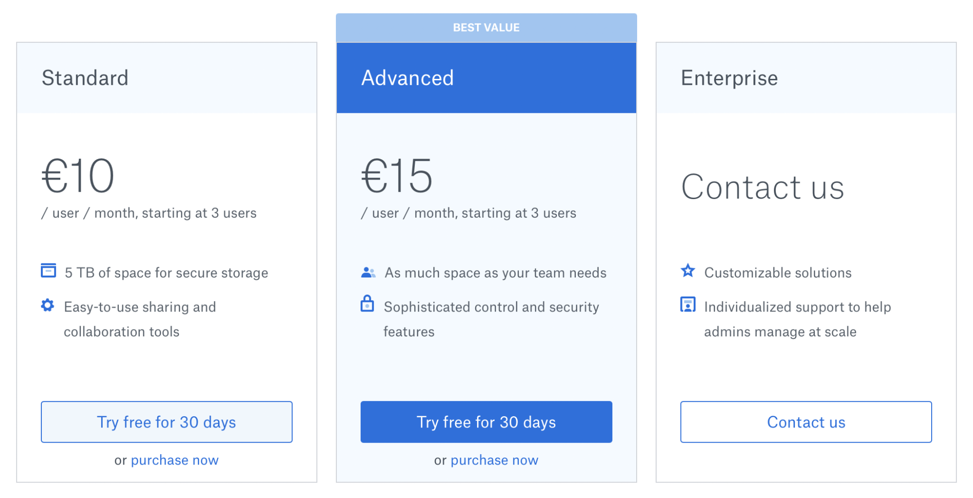 Dropbox prices and plans