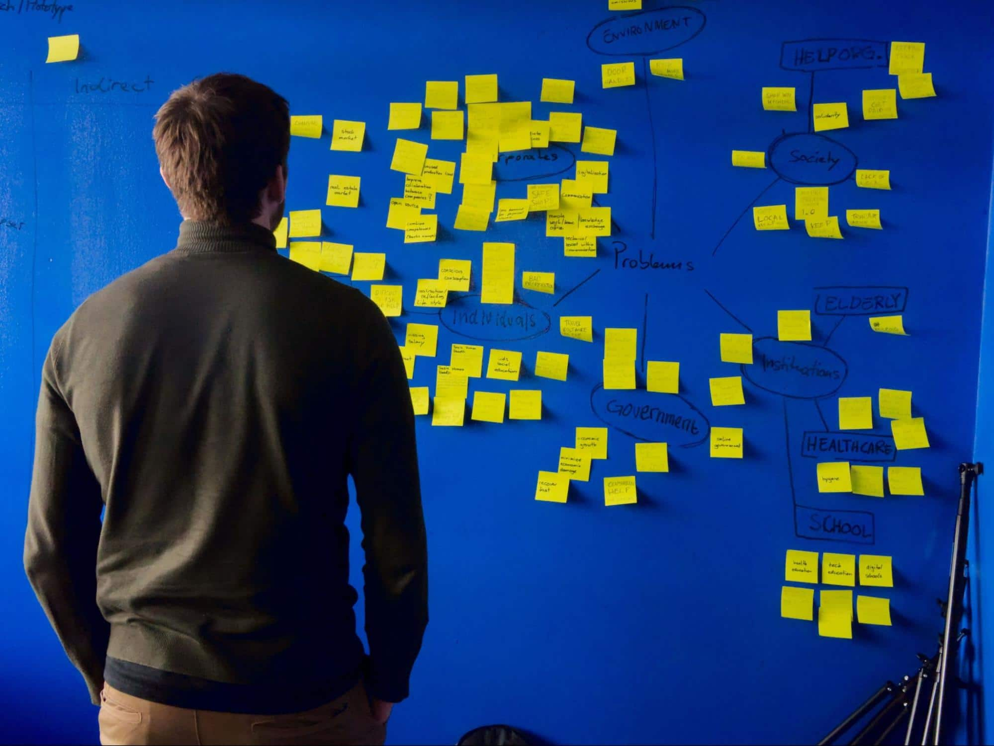 man facing a blue wall with yellow sticky notes