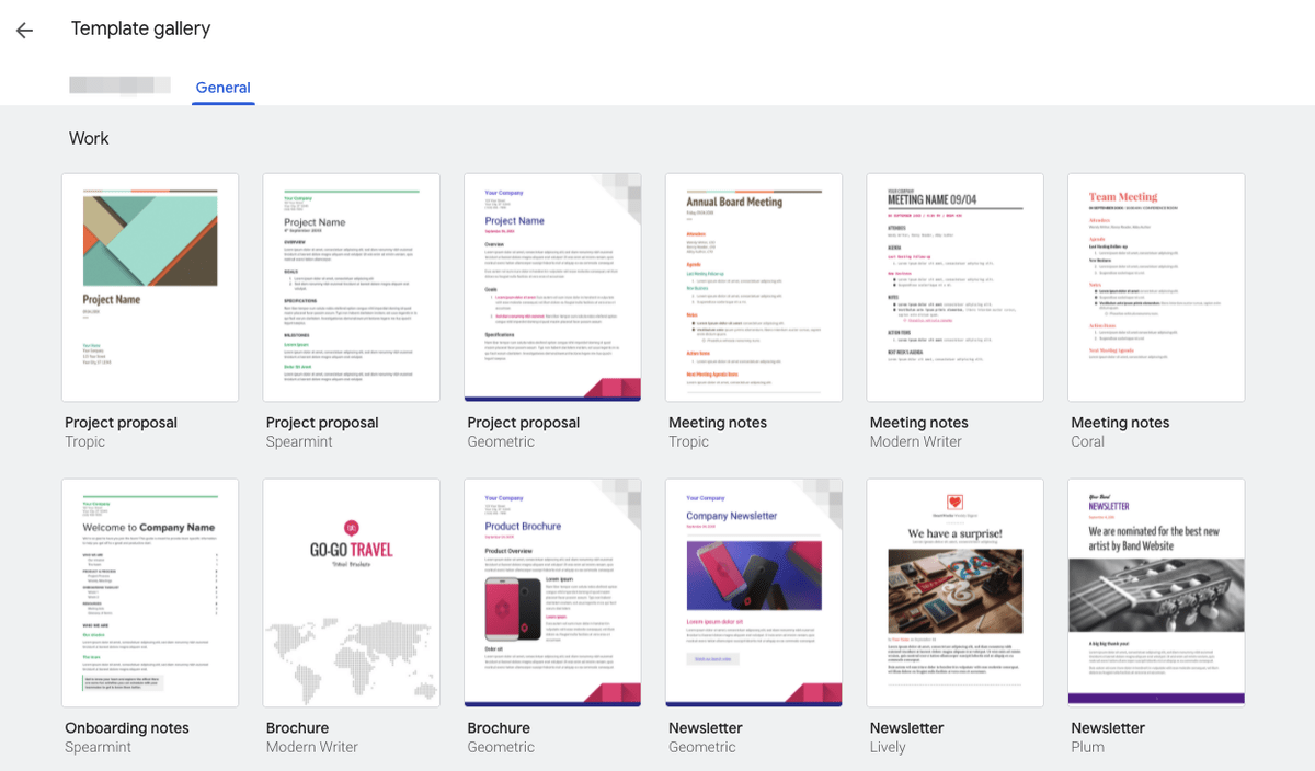 Google Doc template gallery