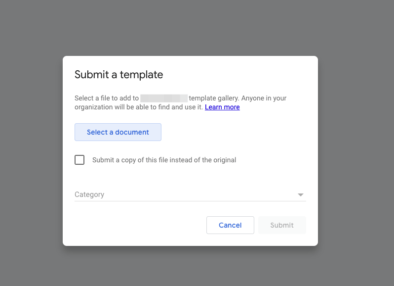 screenshot of how to create a template to submit to gallery