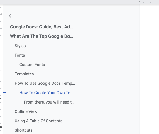 screenshot of table of contents from Google Docs