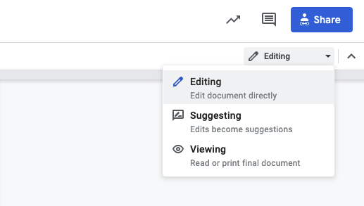 screenshot showing the options edit, suggest and comment