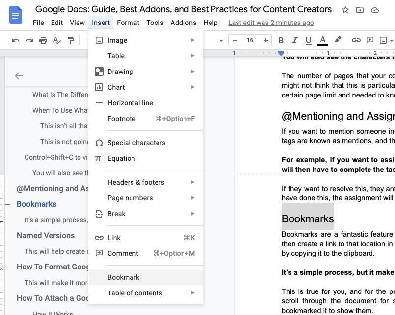 screenshot of where to locate bookmarks