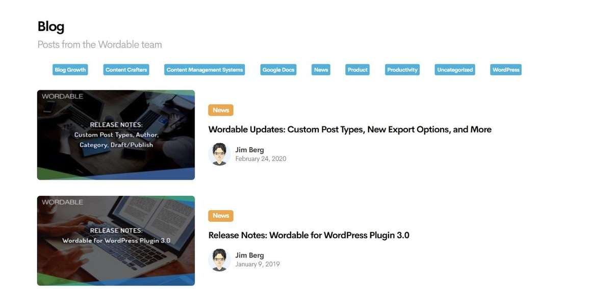 sample blog posts from Wordable