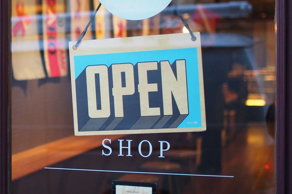 shop with an open sign