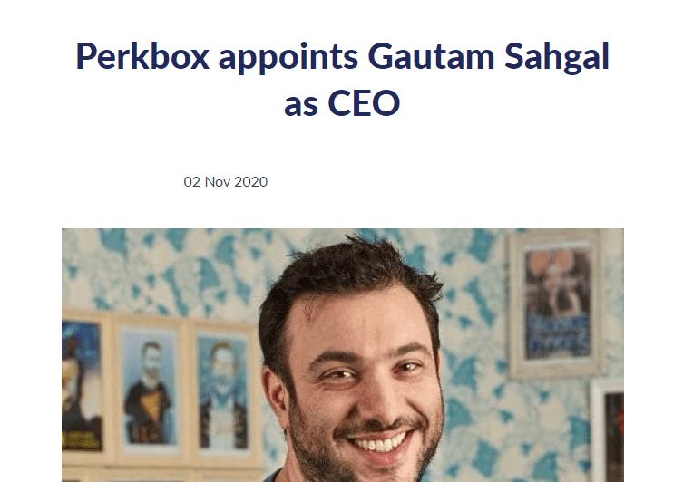 Perkbox appoints Gautam Sahgal as CEO article