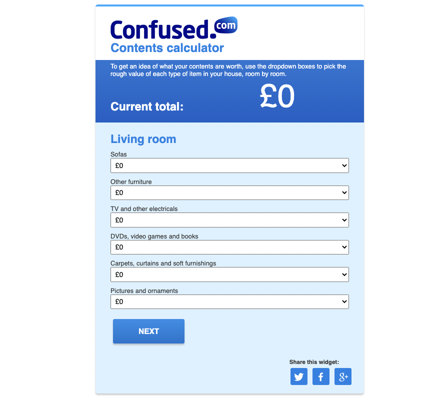 Confused contents calculator