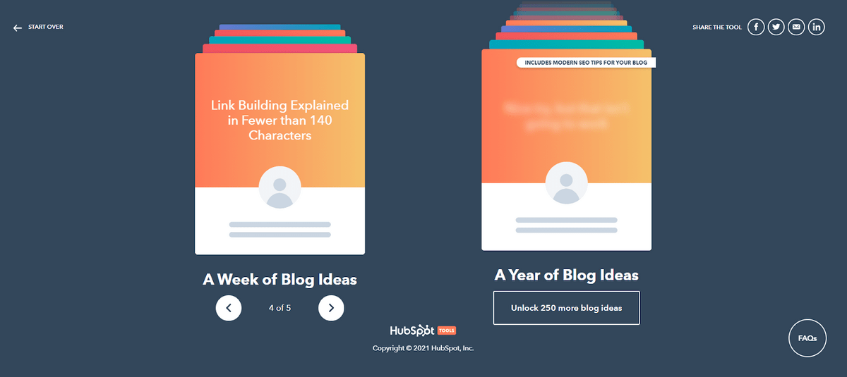 HubSpot Blog Ideas Generator interface