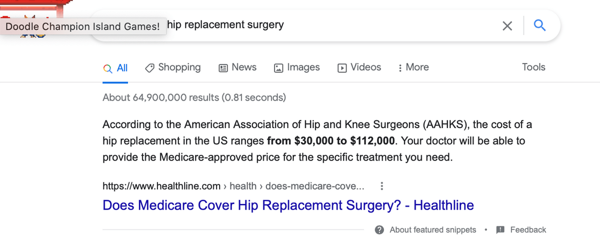 sample answer from a question as a featured snippet