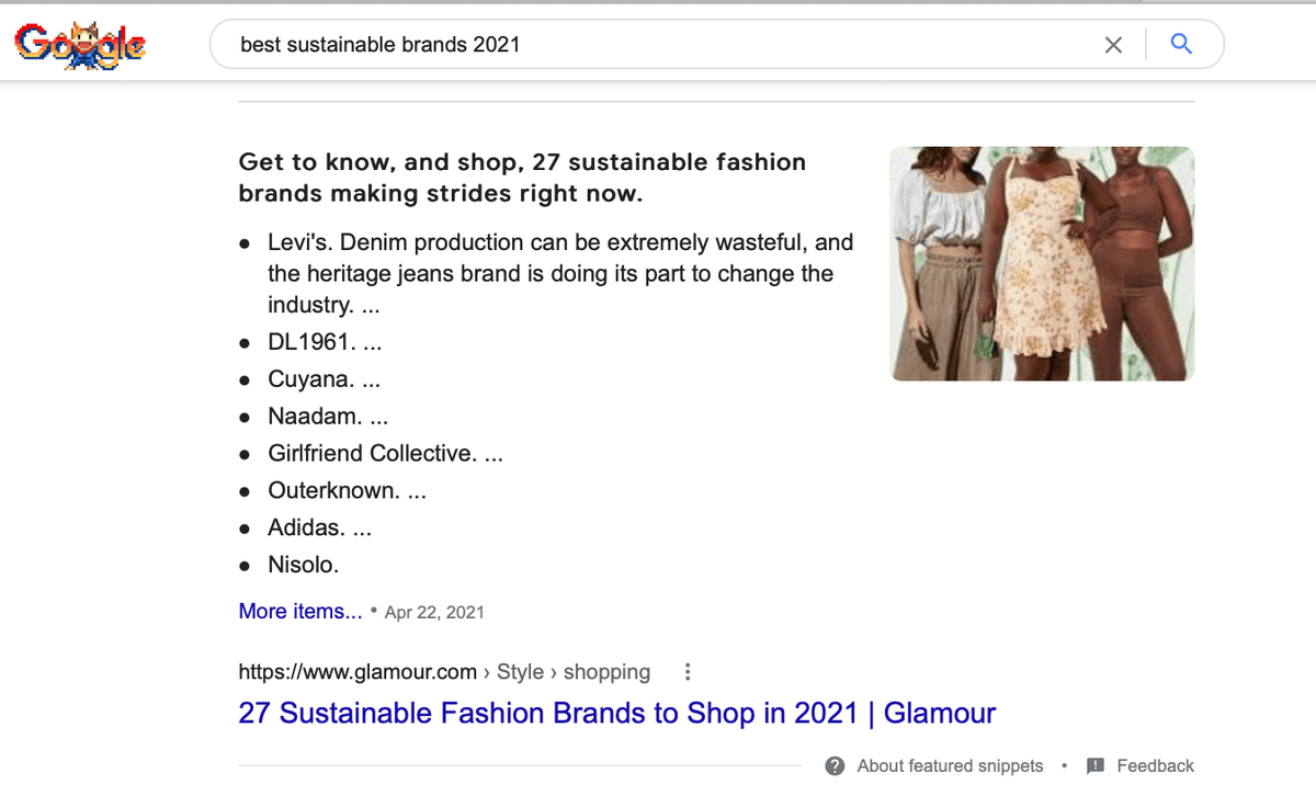 sample of featured snippet from glamour