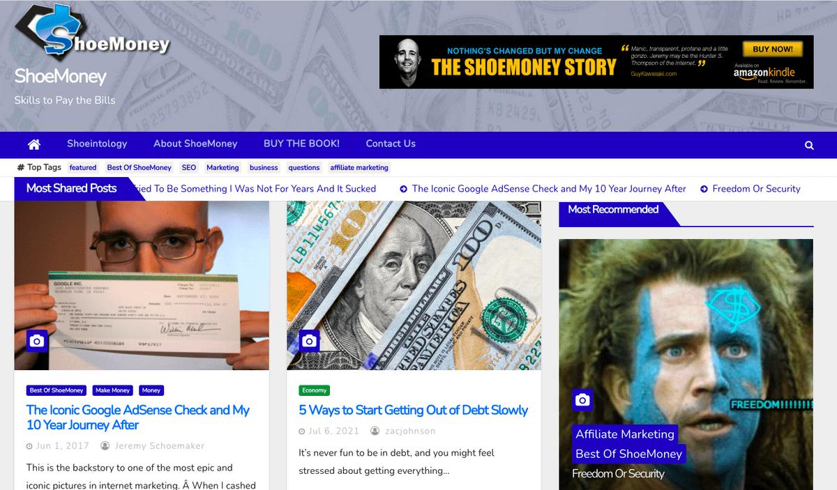 ShoeMoney homepage