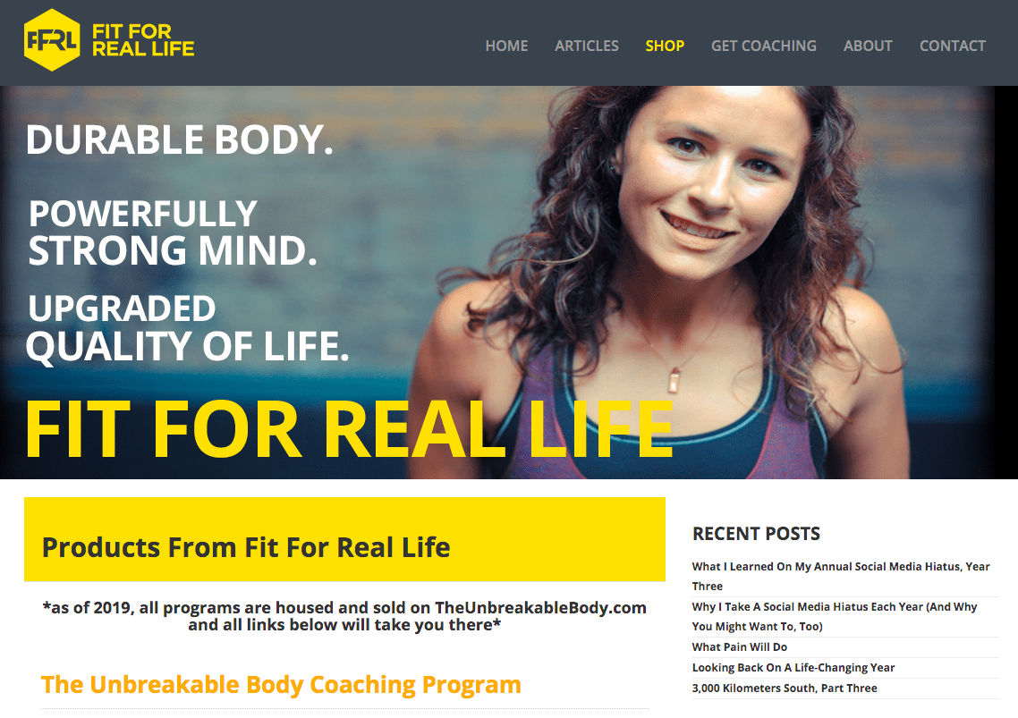 Fit for Real Life homepage