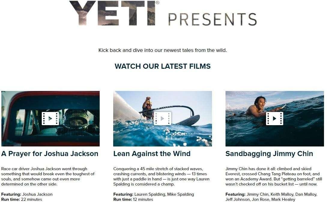YETI homepage