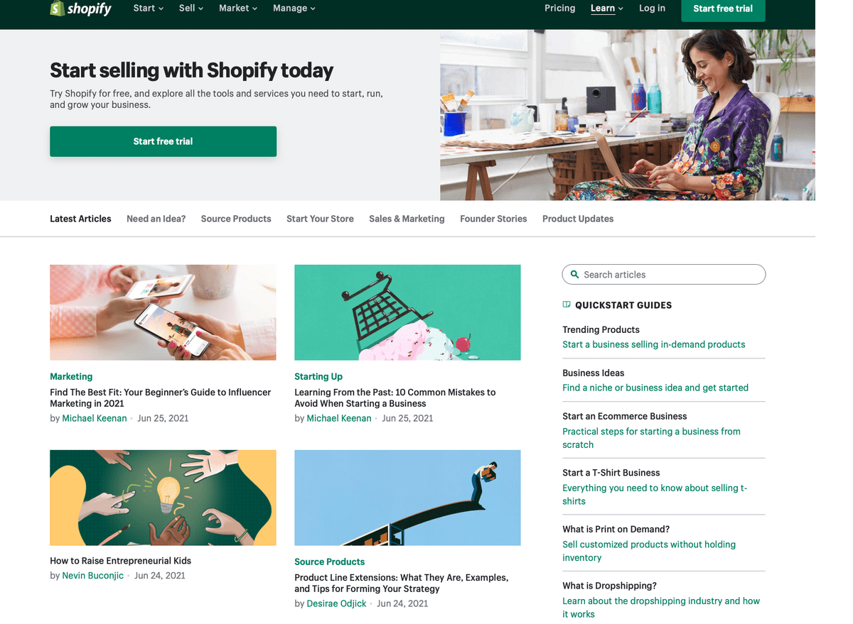 business blog example from Shopify's site