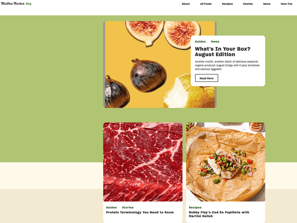B2C content marketing example from Misfits Market showing three blog posts