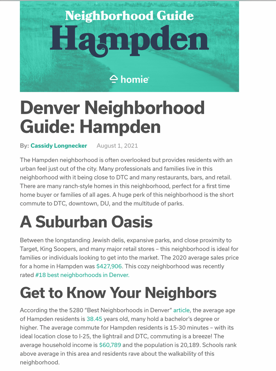 content marketing example of a neighborhood guide