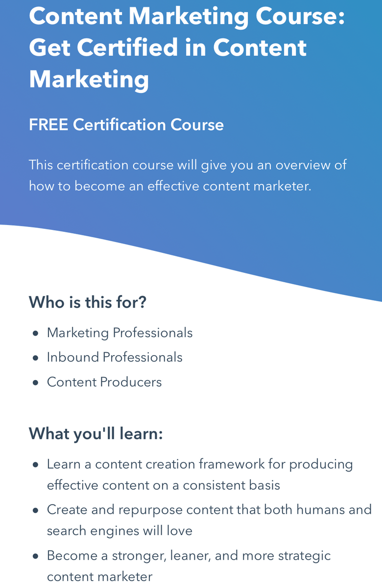 content marketing course for freelance writers