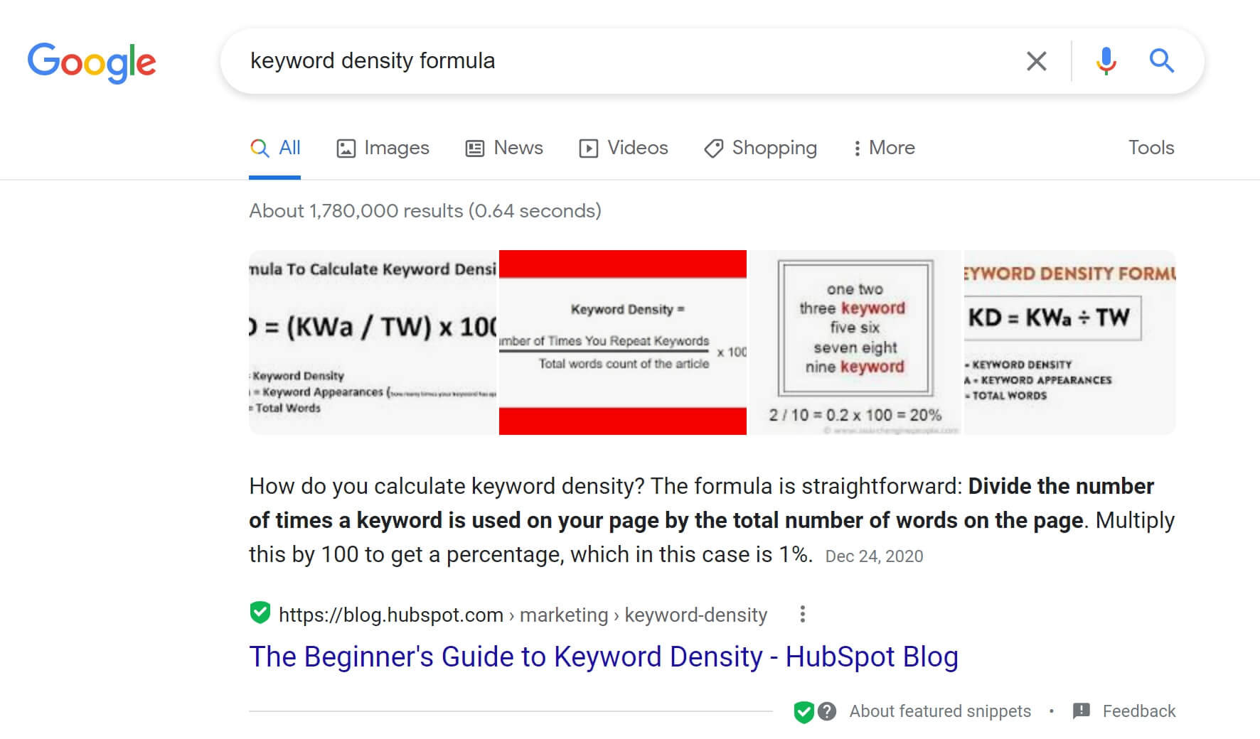 sample of primary keyword research result