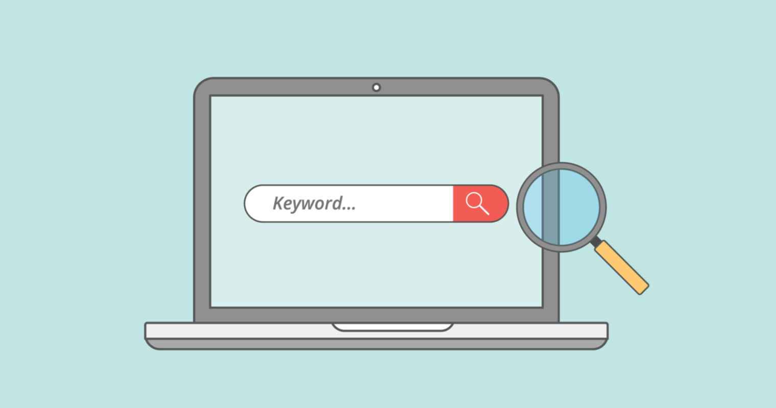 """graphic showing a laptop showing a search with the word """"keyword"""" on the screen and a magnifying glass on the right"""