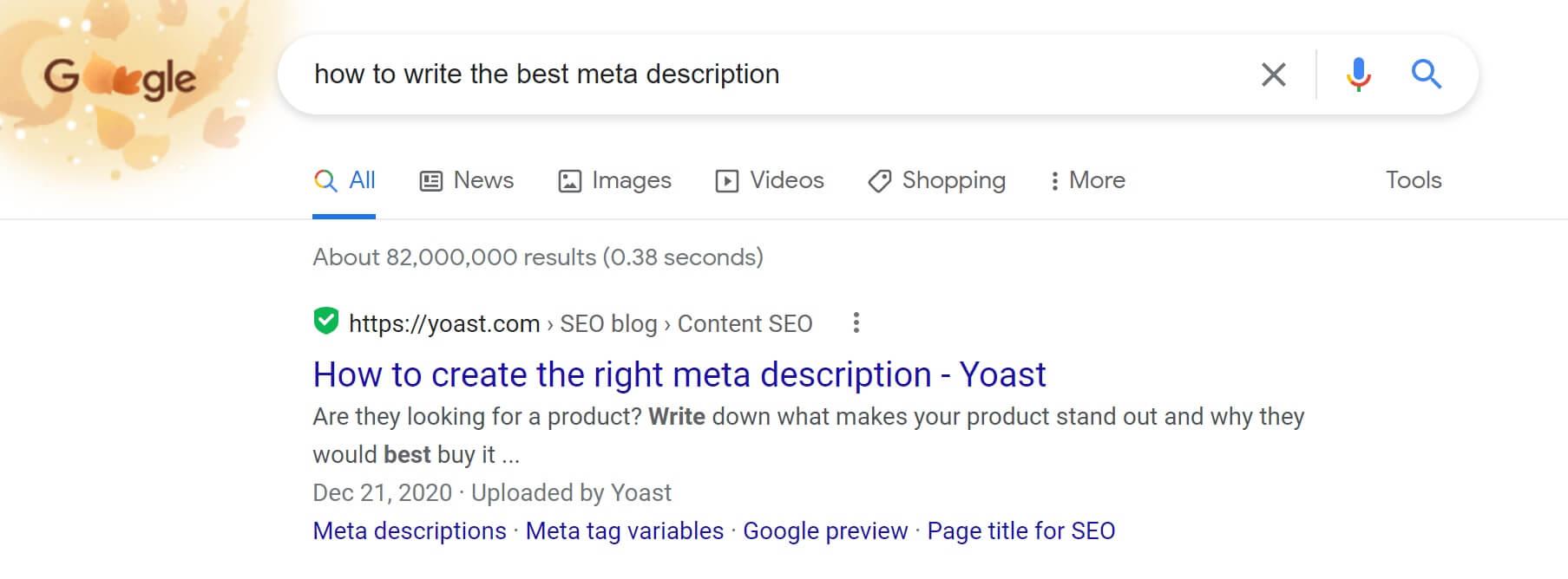 sample of an excellent meta description