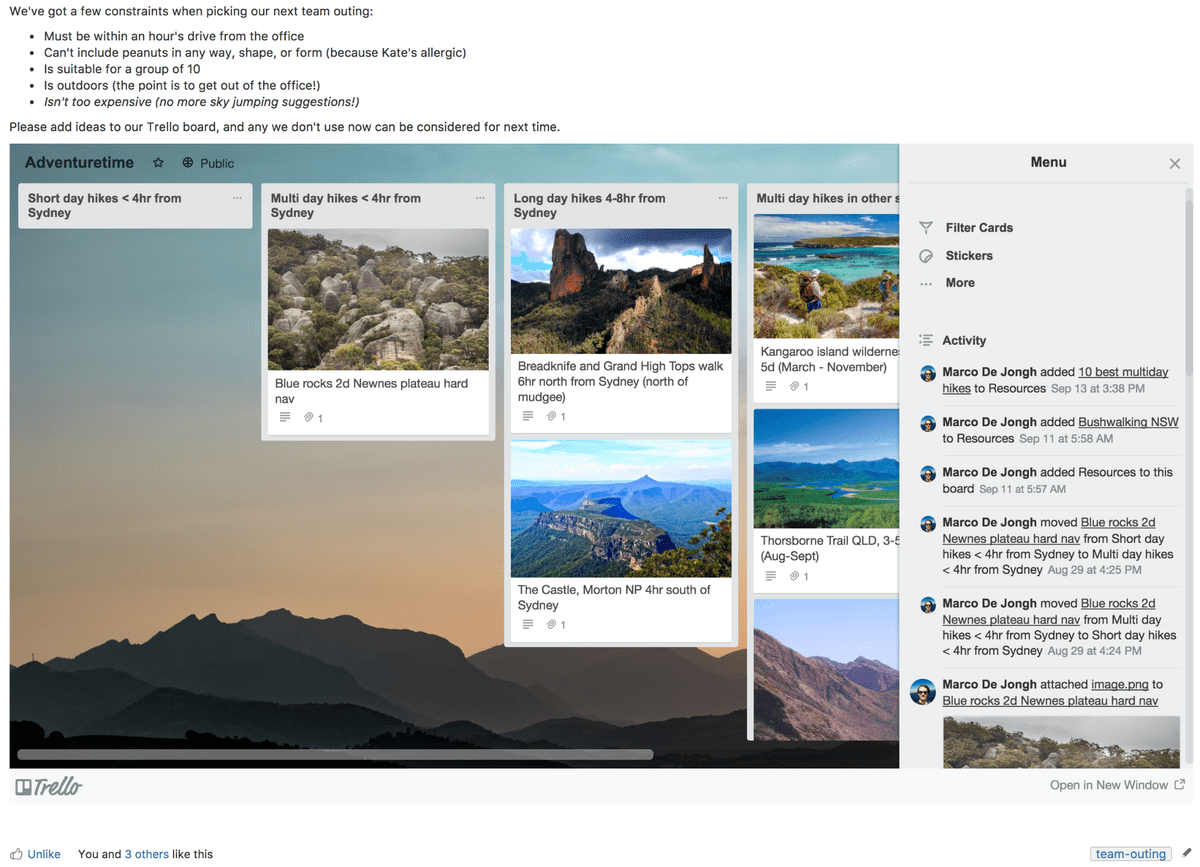 Trello and Confluence homepage