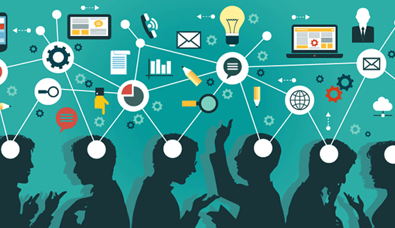 graphic showing a group of people thinking or coming up with ideas