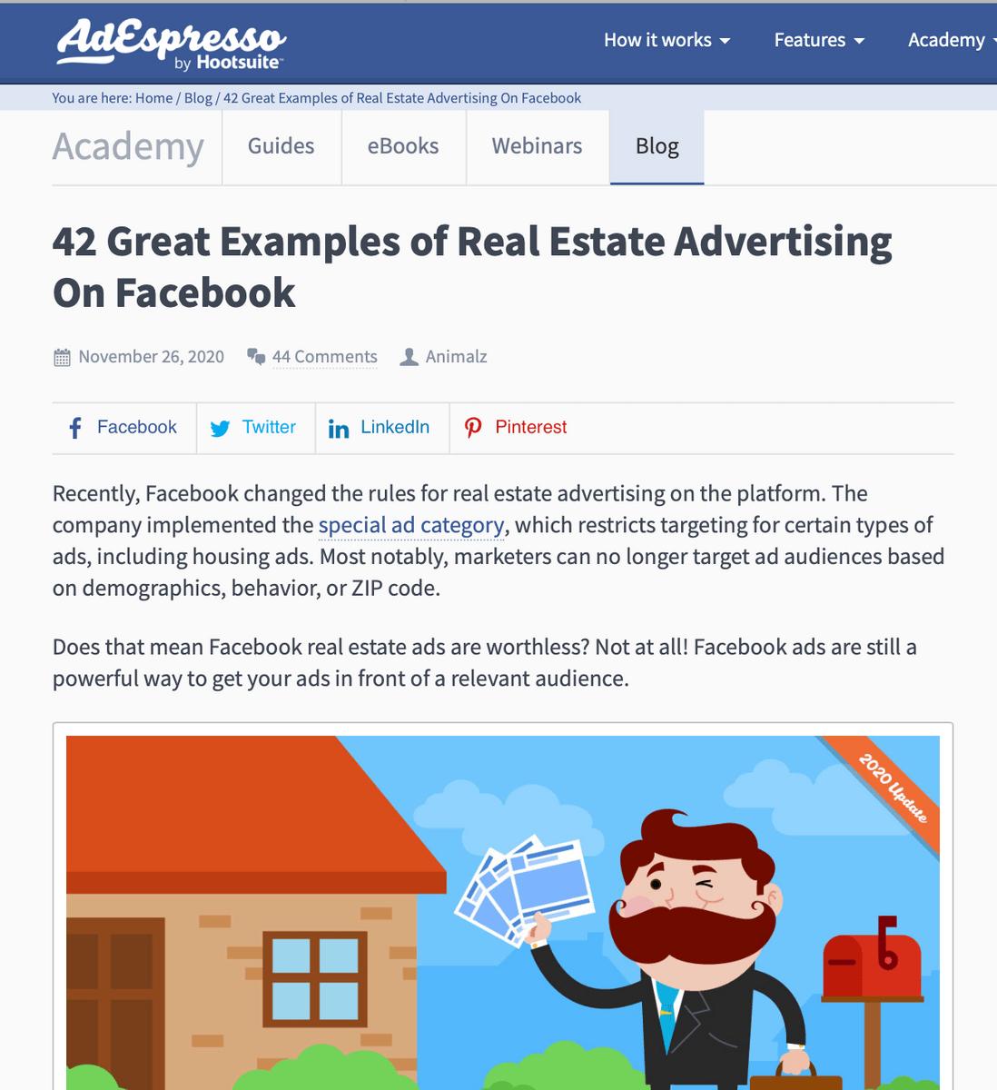 AdEspresso blog post segmented content strategy